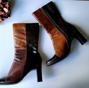 Mid Calf Brown Heel Boots 7.5